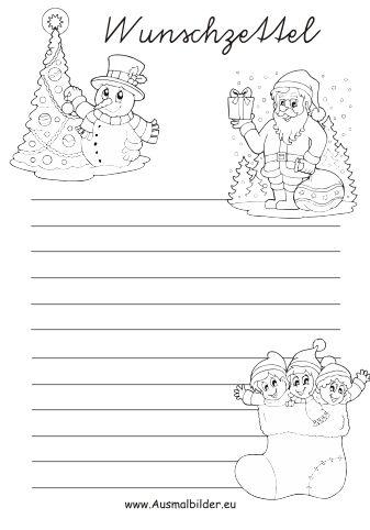 wunschzettel weihnachten | ausmalbilder weihnachten, basteln weihnachten, weihnachten kinder