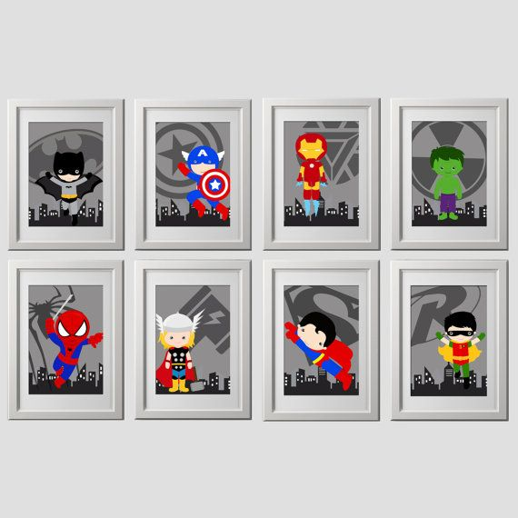superhero wall art PRINTS set of 8 5x7 inch by AmysSimpleDesigns