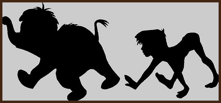 The Jungle Book Silhouette Junior And Mowgli Book Jungle Junior Mowgli Silhouette Disney Silhouetten Disney Dschungelbuch Schattenbilder