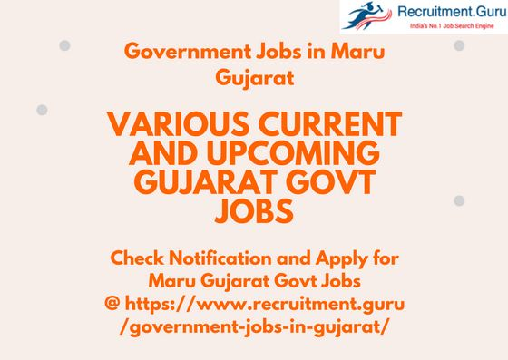 Maru Gujarat Government Jobs recruitment notification download the official notification in the gujarat govt jobs page and apply for the Govt Jobs in Maru Gujarat