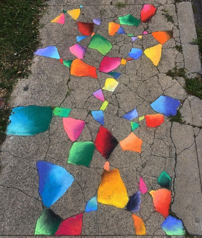 Stained Glass Sidewalk (2017) Chalk : Art