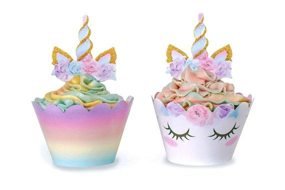 Set of 24 Gold Glitter Unicorn Horn and Ears Cupcake Toppers Baby Shower Kids Birthday Party Decorations