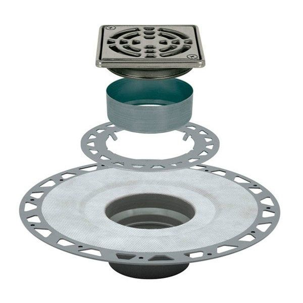 Schluter Kerdi Drain Kit 4 Square Stainless Steel Grate Pvc Flange With 2 Drain Outlet Qty:10