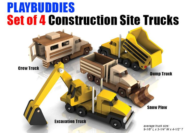 Build the Play Buddies Set of 4 Construction Site Trucks Wood Toy Plan Set