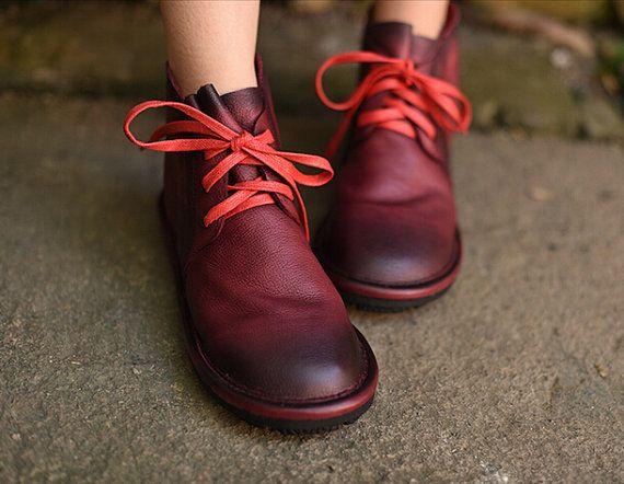 2 couleurs ! Bottillons femme à la main, bottines, chaussures plates, chaussures Retro en cuir, chaussures Oxford, bottillons, fermeture à glissière sur les chaussures à court