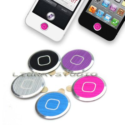 5 X Aluminium Metal Home button Sticker For iPhone iPod Touch 4 4G 5 Ipad 2 3