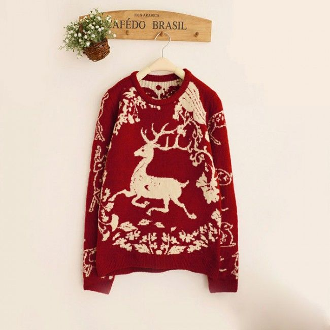 Unique Elk Flower Vine Jacquard Sleeve Thick Sweater for only $29.99 ,cheap Sweaters & Cardigans - Clothing & Apparel online shopping,Unique Elk Flower Vine Jacquard Sleeve Thick Sweater