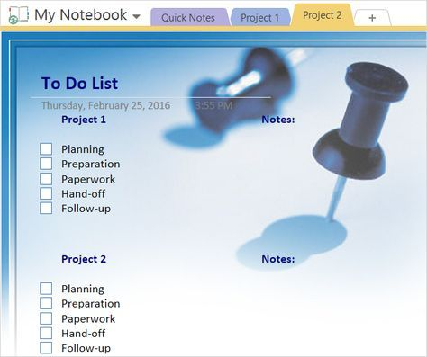 onenote templates project management