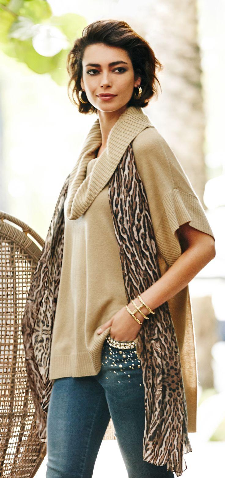 Black Label Cashmere Sweater & oversized animal-print scarf.