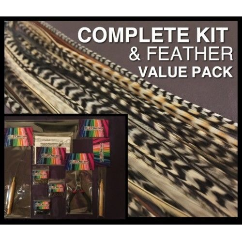 Feather Hair Extensions & COMPLETE Kit SPECIAL Blonde Naturals Wide Skinny Pk