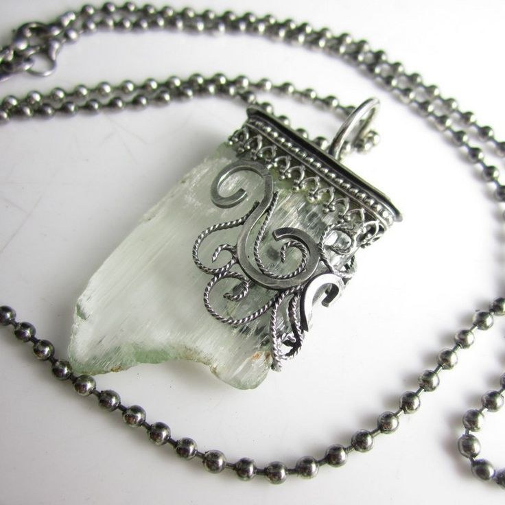 Stalactite Necklace - Rough Triphane set in a Sterling Filigree Setting | glowfly - Jewelry on ArtFire
