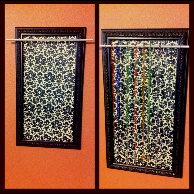 Rosary display/hanger I made today. ($25) project.   Frame - Hobby Lobby $17 on 50% off sale Foamcore board - $1.50 (Hobby Lobby) Fabric - 1/2 yard $3.50 (Hobby Lobby) Dowel Rod $0.79 (hobby Lobby) 2 Eye Hooks (on hand) Silver Spray Paint (on hand) Hodge Podge ($6 hobby lobby)  Cut Foam core to sit inside frame. Hodge Podge Fabric to foamcore board Drill holes at top edge of frame, then screw in eye hooks. Spary paint dowel rob (18 in). Glue fabric covered foam core board into…
