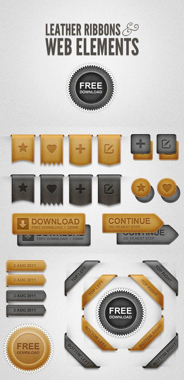 Free Leather UI Elements