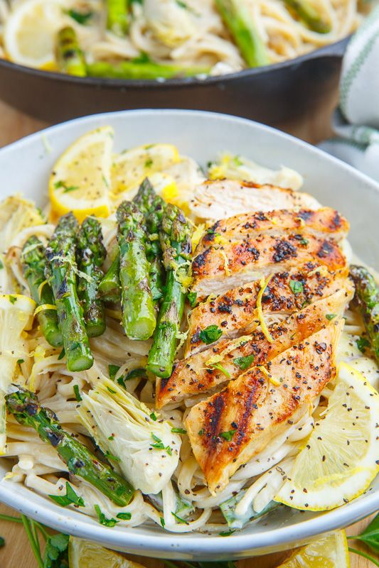 Creamy Lemon Grilled Chicken, Asparagus and Artichoke Pasta!!