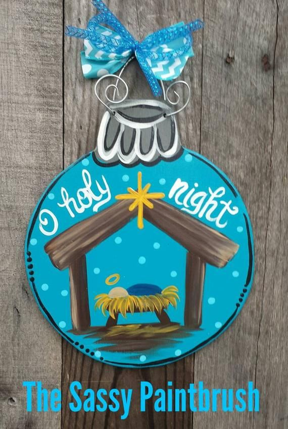 11 X 9 5 Inches Ready To Hang Straight Out Of The Box All Of Our Wooden Door Hangers Are Hand C Christmas Door Hanger Nativity Ornaments Painted Ornaments