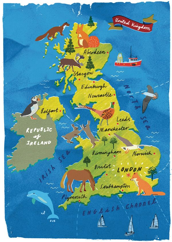 91 best map images on pinterest illustrated maps maps and holly wales uk map wildlife illustration gumiabroncs Choice Image
