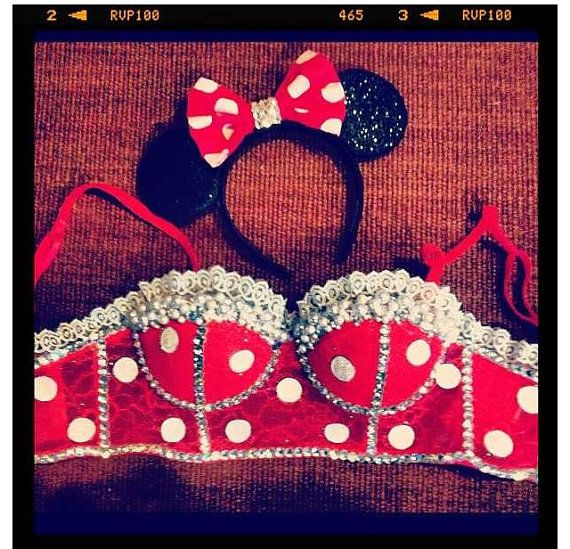 CUSTOM   Minnie Mouse Cropped Corset and Ears by desireeochoa