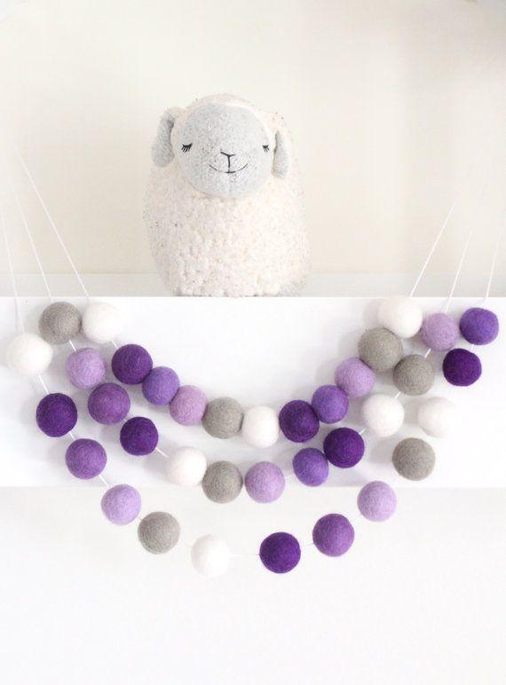 Ombre Purple Garland Nursery Decor Purple Felt by SheepFarmFelt