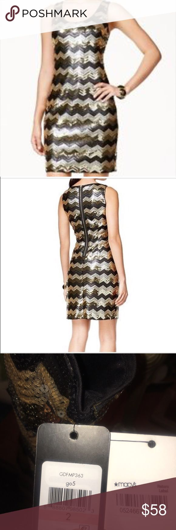NWT GUESS Gold&Black Chevron/Sequin Dress, Size 2 NWT GUESS Gold & Black Chevron Print Sequin Women's Cocktail Dress, Size 2. Retailed and bought at Macy's, $158.00 (still has Macy's return labels on tags). Gold zipper up back. Dress completely lined and 100% polyester. This is a beautiful, fun dress and can be worn for several occasions. 100% smoke free home. Reasonable offers considered. Guess Dresses