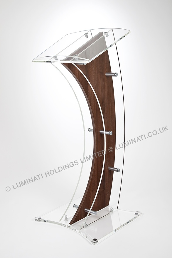 Modern acrylic and wood lectern designed and made in the UK by Luminati with curved wood and acrylic panels.