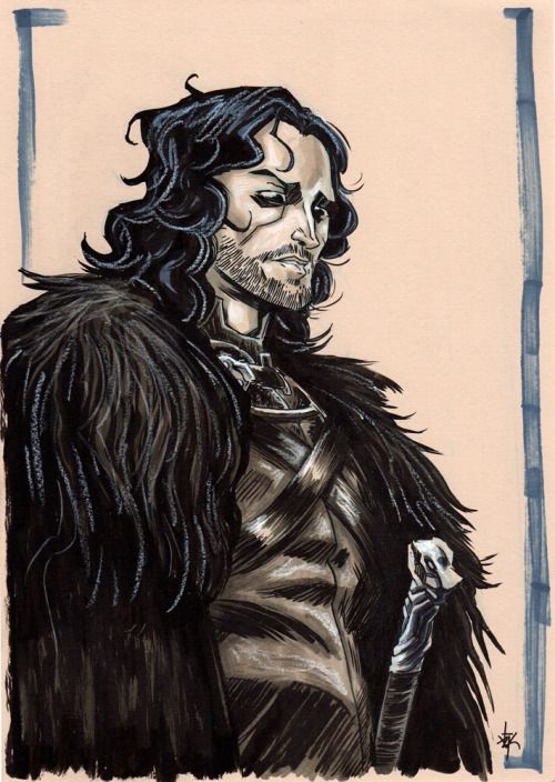 Jon Snow  [Black ink, grey copic and white wax pastel on A4 250g natural] #jonsnow #gameofthrones #thenorthremembers #winteriscoming