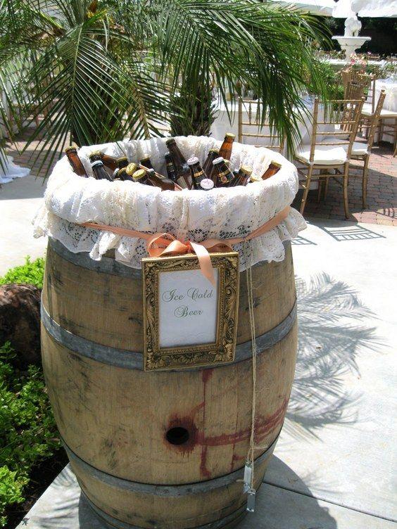 vintage wine barrel wedding drink bar / http://www.himisspuff.com/rustic-country-wine-barrel-wedding-ideas/6/