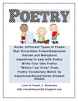 Poetry Pack for Grades 2-3... 44 pages of poems, writing prompts, guides, and graphic organizers