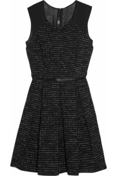 Markus Lupfer tweed and chiffon dress.