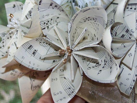 Sheet Music Flower Bouquet  10 Kusudama by GracelinePaperStudio