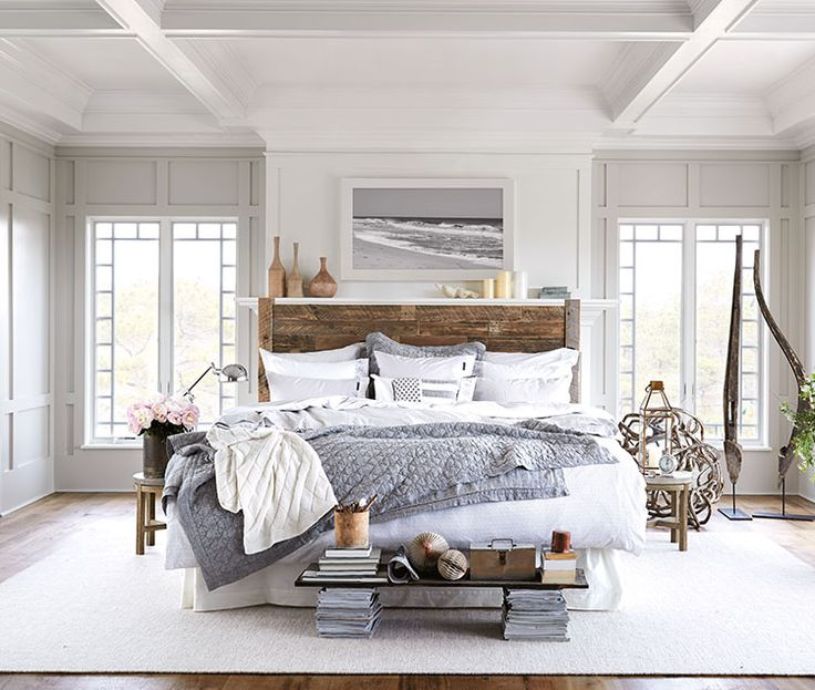 Grey Lexington bed linen with driftwood headboard