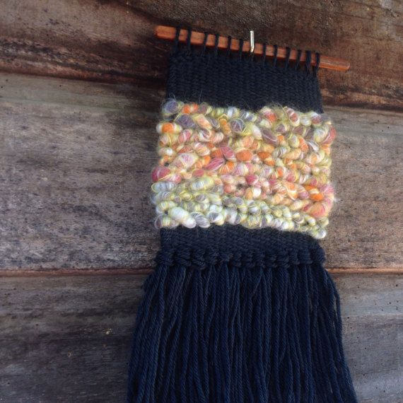Wool and Mohair Woven Wall Hanging by handspunandweaving on Etsy
