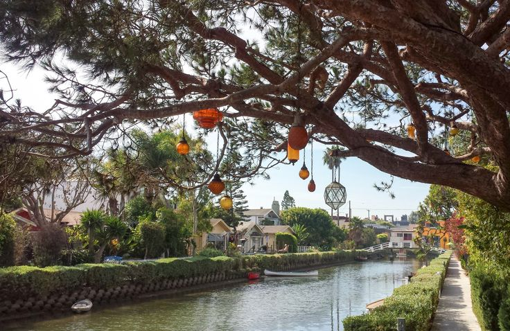 Venice, Los Angeles - pretty vintage lanterns hanging over the canal path