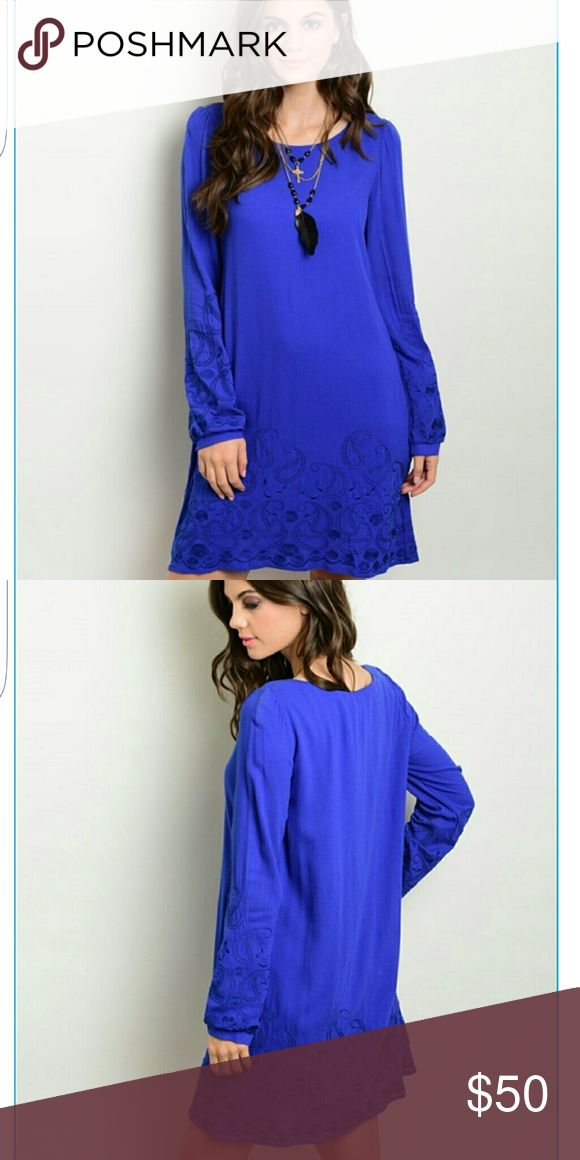 4 AVAILABLE! Royal Blue dress Forever Chic! Royal Blue dress. Knee length, long sleeves. Intricate designs on the sleeves and around the hemline. Loose fitting and comfortable. Can be worn for a casual event or work. Add some jewelry high heels and lipstick and you will look like ROYALTY 👑 Price pretty firm unless it's a reasonable offer or bundled. 100% rayon Dresses