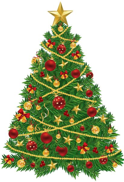 Large Transparent Christmas Tree with Red and Gold Ornaments Clipart