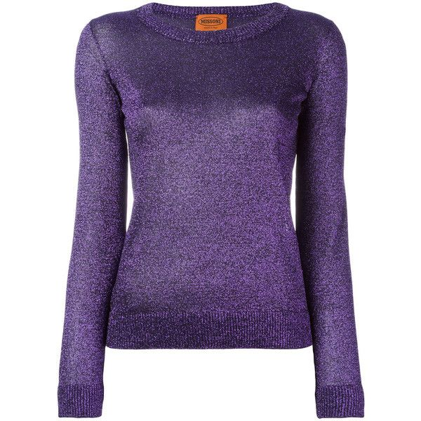 Missoni glittery jumper (830 AUD) ❤ liked on Polyvore featuring tops, sweaters, missoni, purple sweater, jumpers sweaters, missoni sweaters and purple jumper