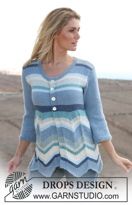 """DROPS jacket with stripes and zigzag pattern in """"Alpaca"""" and """"Cotton Viscose"""". Sizes: S - XXXL ~ DROPS Design"""