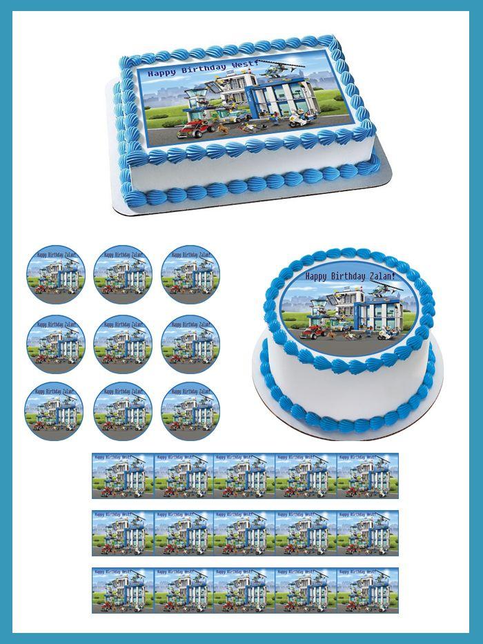 Lego City Police Station 2 Edible Birthday Cake Topper