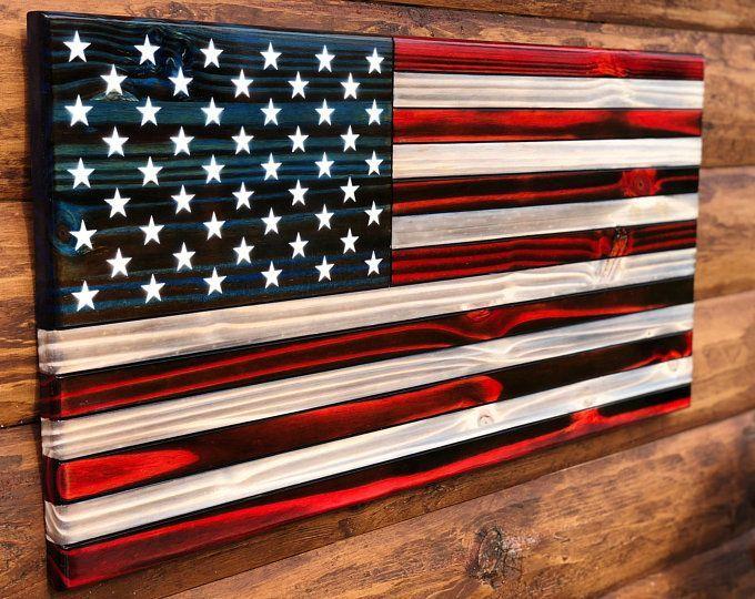 Rustic Wooden Color American Flag Wall Decor Charred American Flag Classic American Flag Wall Rustic American Flag Flag Wall Decor American Flag Wall Decor
