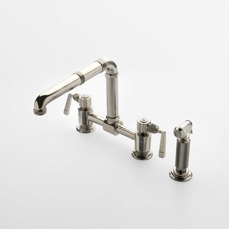 Awesome R.W. Atlas Bridge Two Hole Kitchen Mixer With Metal Lever Side Mount  Handles And Spray