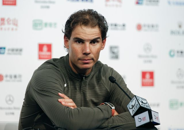 BEIJING, CHINA - OCTOBER 07: Rafael Nadal of Spain attends a press conference after his defeat against Grigor Dimitrov of Bulgaria on his Men's singles Quarter Finals match on day seven of the 2016 China Open at the China National Tennis Centre on October 7, 2016 in Beijing, China. (Photo by Etienne Oliveau/Getty Images)