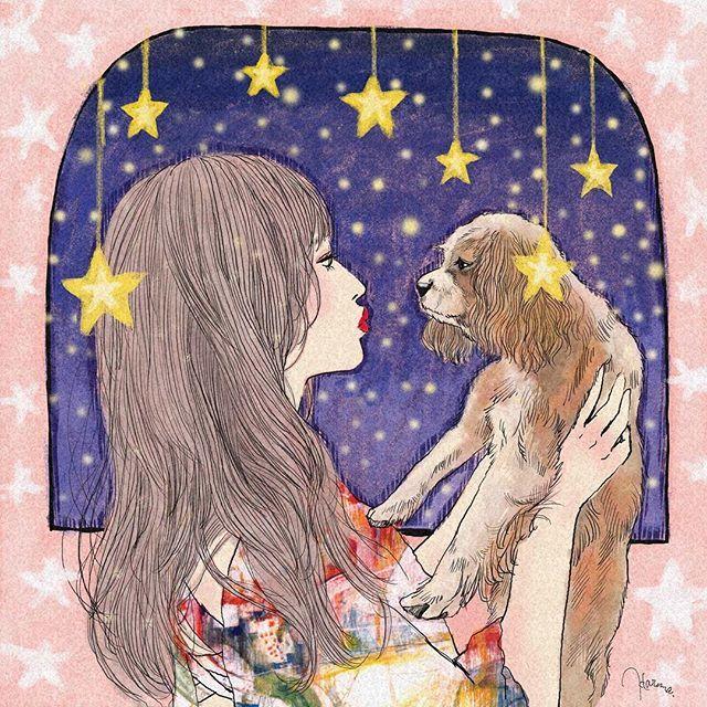 ・ 『星降る夜の誓い』 ・ ・ 【Instagramで見つけた素敵な人を描いちゃいます】企画、25人目は! @satsuki16 こと、satsukiさん ・ ・ 家族のムギちゃんとのツーショット写真を使わせて頂きました✨ satsukiさんの美しい横顔と、ムギちゃんの優しい横顔。 とても深い愛情を感じる素敵なお写真でしたので、自分なりの演出を加えて、、 ・ ・ 愛すべき存在があるというのは、本当に幸せな事だと思います。 satsukiさん、描かせて頂いてありがとうございました✨✨ ・ ・ ※ご本人の許可を得た上で描かせて頂いております。 ・ ・ #ファッションイラスト #モデル #ガールズイラスト #犬 #星 #イラスト #リップ #ガーリー #イラストレーション #女の子 #ドッグ #似顔絵 #ドローイング #アート #fashionillustration #illustration #girlsillustration #model #woman #Illustrator #girl #art #drawing #artwork #lip #dog #star...