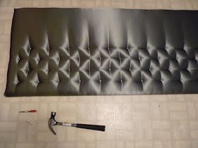 d i y d e s i g n: Simple Tufted Headboard opts to use nails to make tufts then glue buttons on