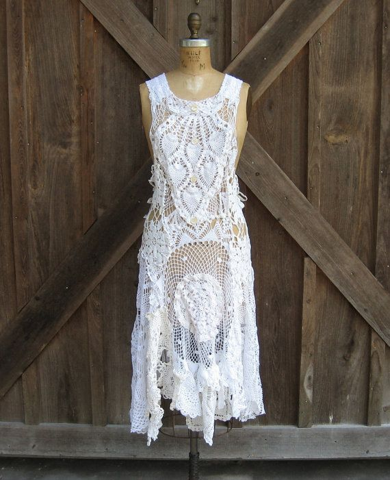 dress pinafore jumper vintage crochet lace doilies by BonnieHarris, $275.00