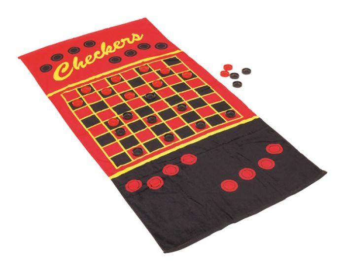 """Strandlaken """"Joke"""" met damspel inclusief speelstukken in handig opbergnet. - Handdoeken - Relatiegeschenken"""