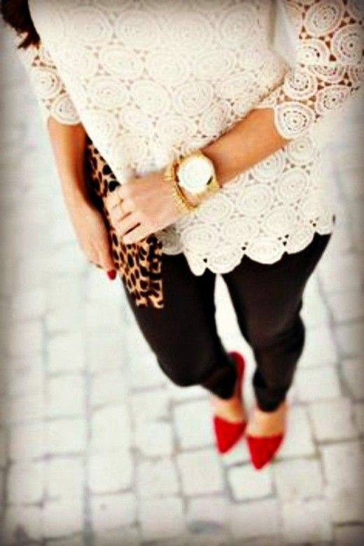 Stay stylish on busy days in a nude lace long sleeve t-shirt and black leggings. Red suede pumps will add elegance to an otherwise simple look.  Shop this look for $103:  http://lookastic.com/women/looks/long-sleeve-t-shirt-watch-clutch-leggings-pumps/7682  — Beige Lace Long Sleeve T-shirt  — Gold Watch  — Tan Leopard Suede Clutch  — Black Leggings  — Red Suede Pumps