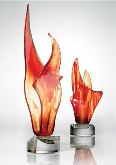 An LED light base is a must underneath these flames of art glass!
