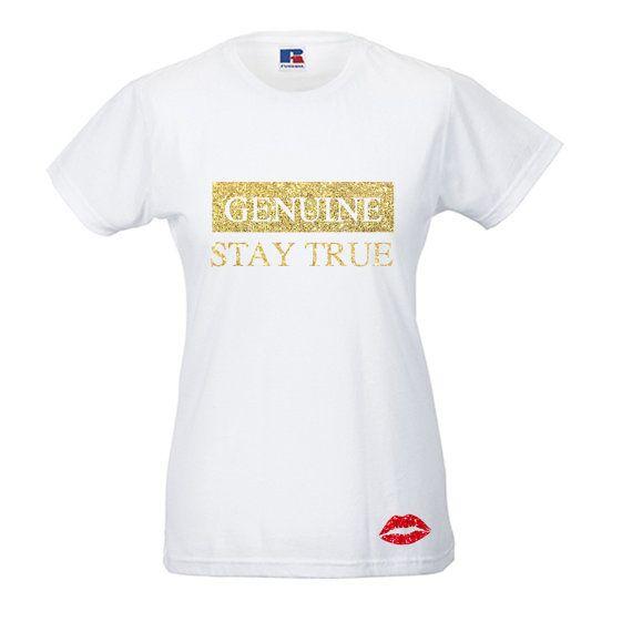 Genuine Stay True Slim Fit Ladies Tee by ChariteeDesigns on Etsy