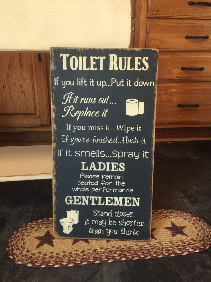 Primitive Toilet Rules funny subway typography wooden sign by CCWD