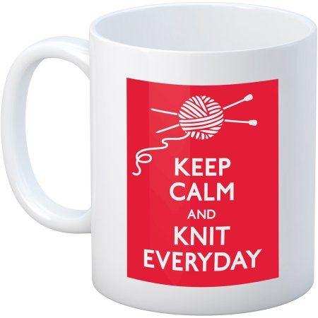 Knit Happy Keep Calm Mug, 11 oz, Knit, Multicolor