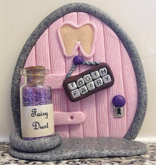 Polymer Clay Fairy Door - Pink Tooth Fairy (Made To Order), could be done with a little house and a tooth whole where you can place your tooth and wait on the tooth fairy